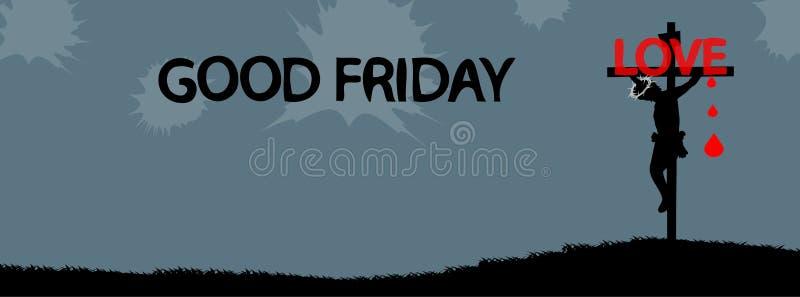 在跨好星期五,耶稣基督 库存例证