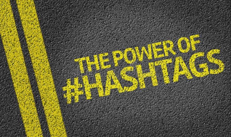 在路写的Hashtags的力量 免版税库存图片