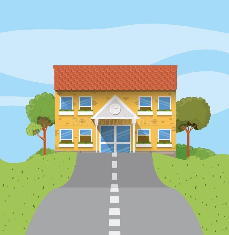 在路场面的教学楼 库存例证
