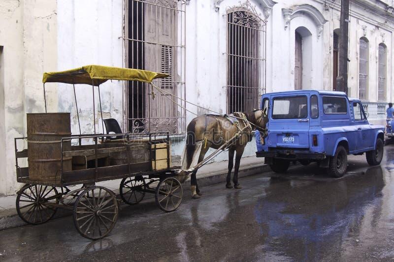 在路旁停放的马支架在古巴 免版税库存图片