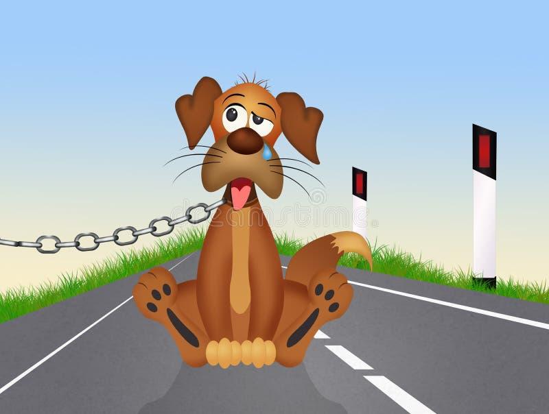在路旁的被放弃的狗 向量例证