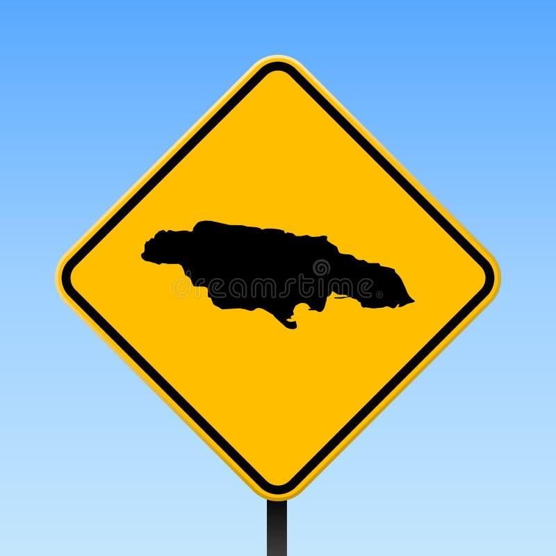 在路标的牙买加地图 向量例证
