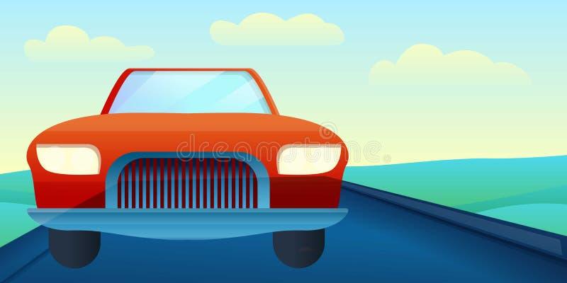 在路概念横幅,动画片样式的敞蓬车汽车 向量例证