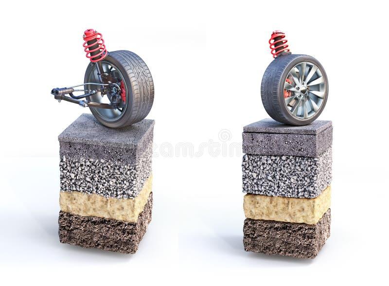在路片断的汽车停止  能看到路结构 向量例证