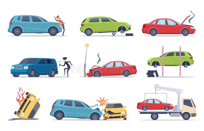 在路的事故 汽车损坏的车保险运输窃贼修理服务交通传染媒介图片收藏 向量例证