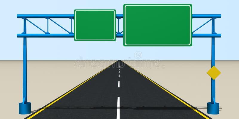 在路的交通标志 库存例证