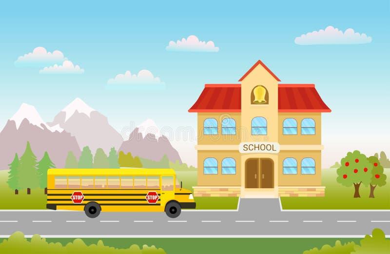 在路的公共汽车向风景的学校 皇族释放例证