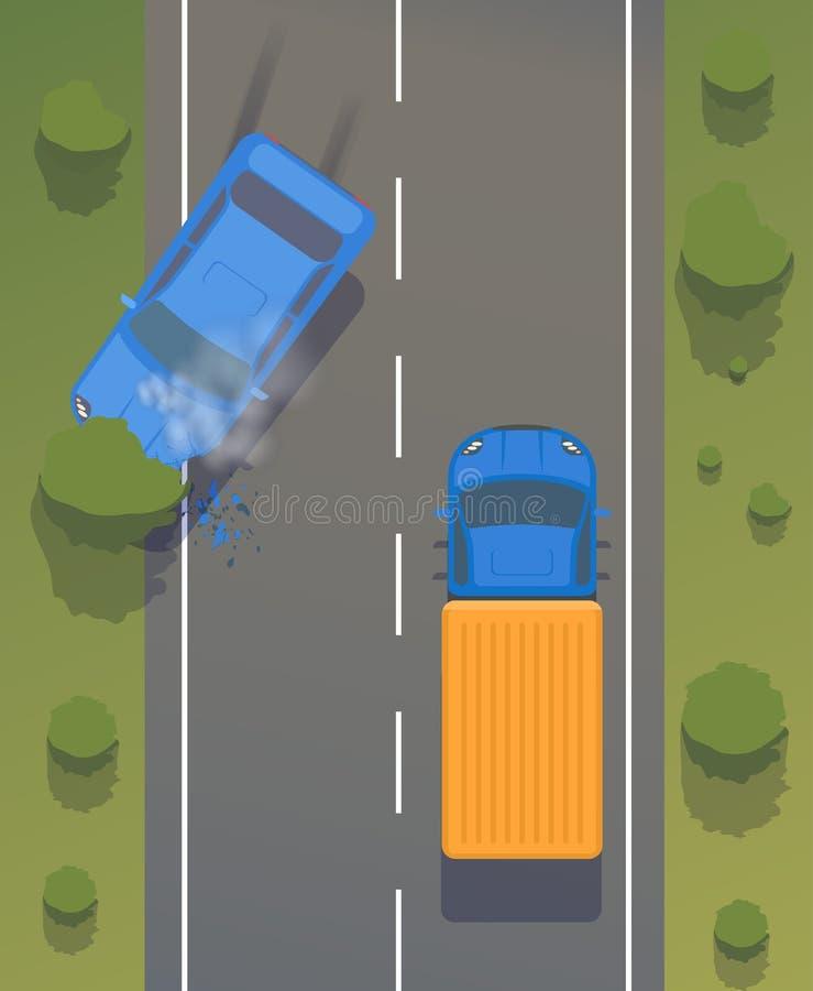 在路的公路事故在汽车之间和树与被弄皱的翼和防撞器,残破的窗口和刹车 并且抽烟 向量例证