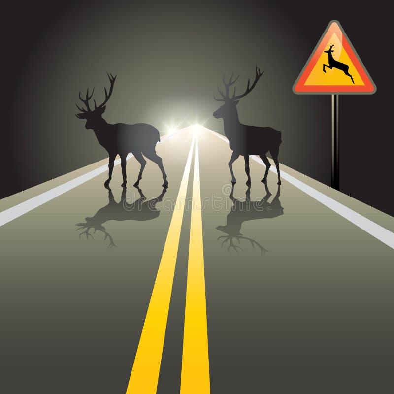 在路的动物 向量例证