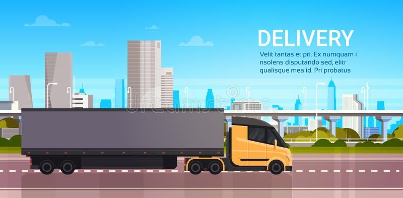 在路的卡车拖车在现代城市背景交付和快速的后勤学运输概念 向量例证