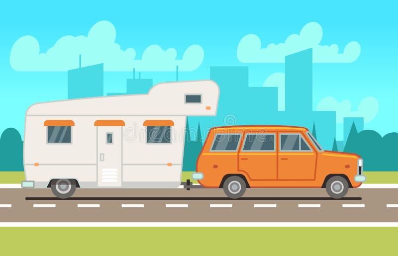 在路的家庭rv野营的拖车 国家旅行和室外假期传染媒介概念 皇族释放例证
