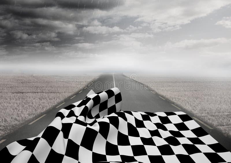 在路的方格的旗子反对风雨如磐的天空 免版税库存图片