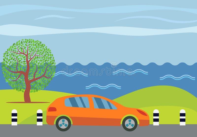 在路的橙色汽车反对海的背景 皇族释放例证
