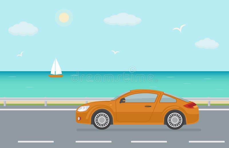 在路的橙色跑车在海附近 库存例证