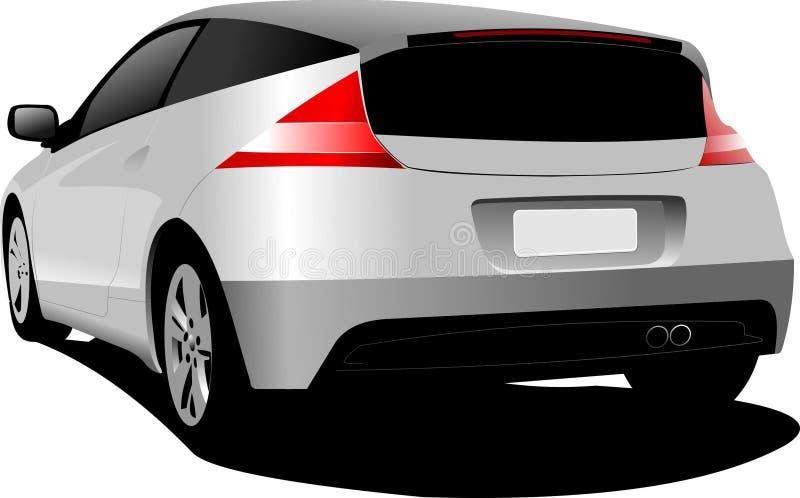 在路的灰色斜背式的汽车汽车 向量例证