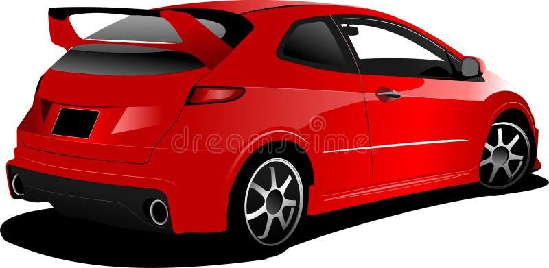 在路的红色汽车斜背式的汽车 向量例证