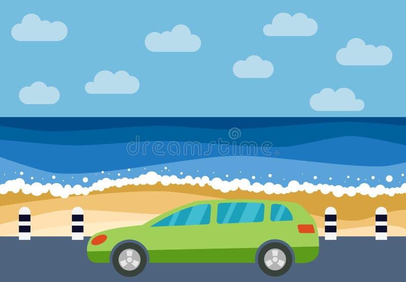在路的绿色汽车反对海的背景 皇族释放例证