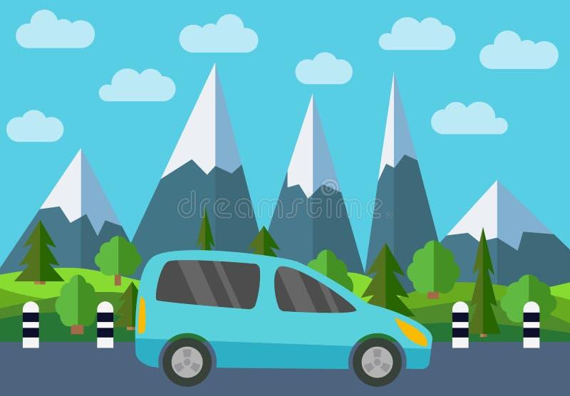 在路的蓝色汽车反对森林和山的背景 库存例证