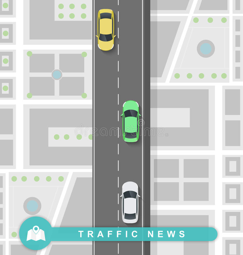在路的被铺的道路在平的样式 交通新闻 向量例证