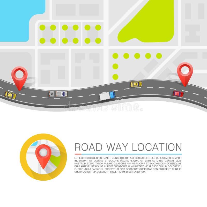 在路的被铺的道路 向量背景 库存例证