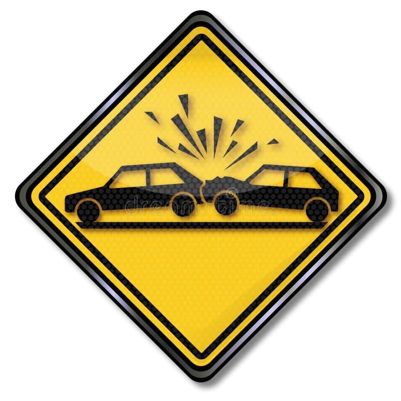在路的警告汽车碰撞 向量例证