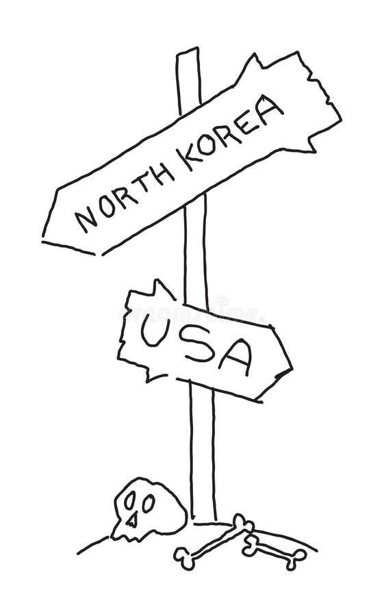 在路的路标 北朝鲜和美国 头骨国际冲突 手拉的传染媒介股票 向量例证