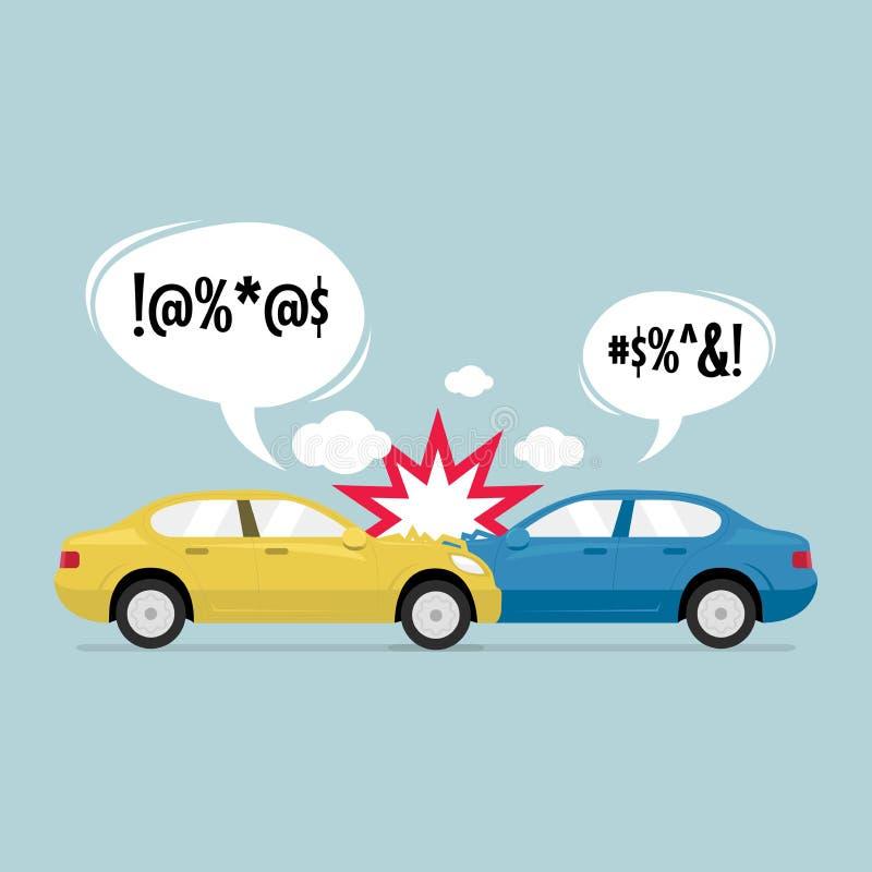 在路的车祸 蓝色和黄色汽车是残破的 事故在反射性公路安全三角背心警告附近的被中断的汽车司机重点 向量例证
