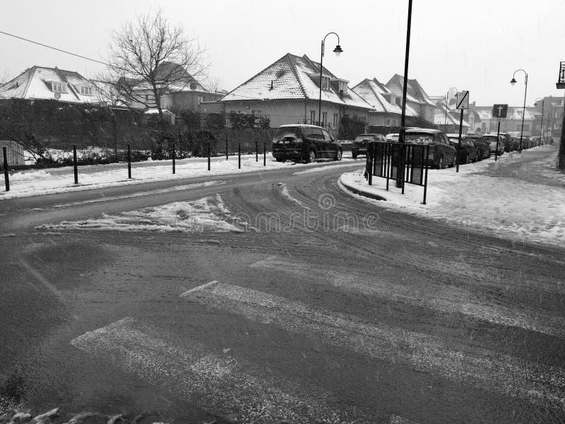 在路的雪 库存照片