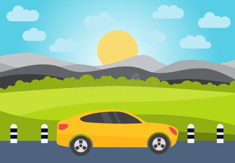 在路的黄色汽车反对小山的背景 库存例证