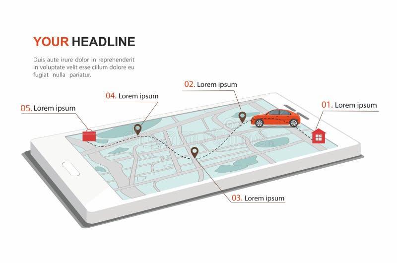 在路线家庭作业的红色汽车乘驾 在智能手机的导航员 ??infographic 库存例证