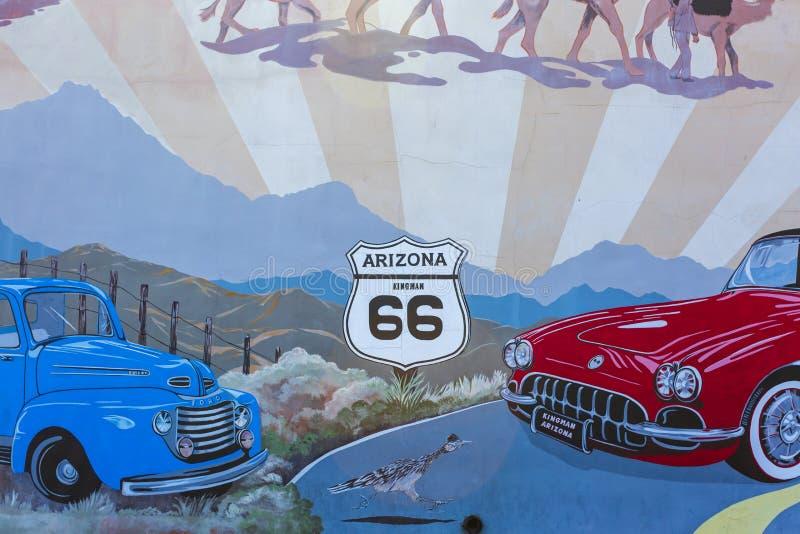 在路线66,金曼,亚利桑那,美国,北美洲的壁画 免版税库存图片