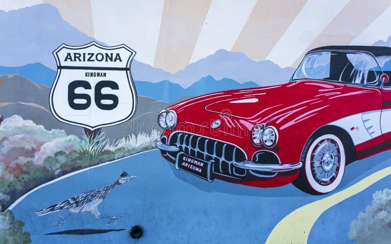 在路线66,金曼,亚利桑那,美国,北美洲的壁画 免版税图库摄影