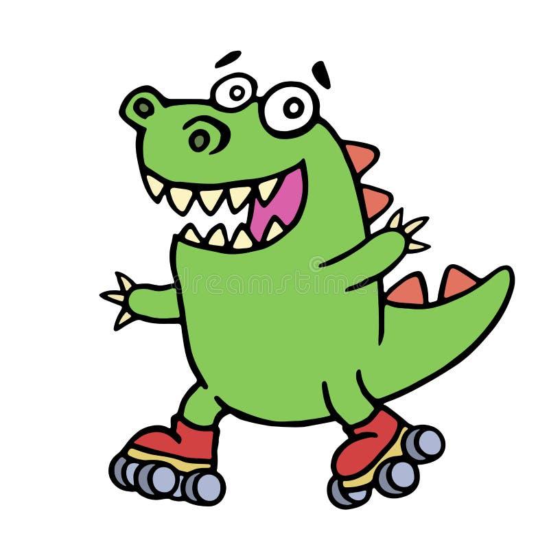 在路辗的逗人喜爱的绿色滑稽的恐龙乘驾 也corel凹道例证向量 向量例证