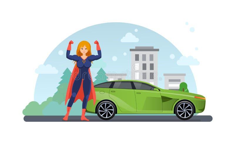在路附近的妇女超级英雄有近汽车的 乘汽车驾驶 皇族释放例证