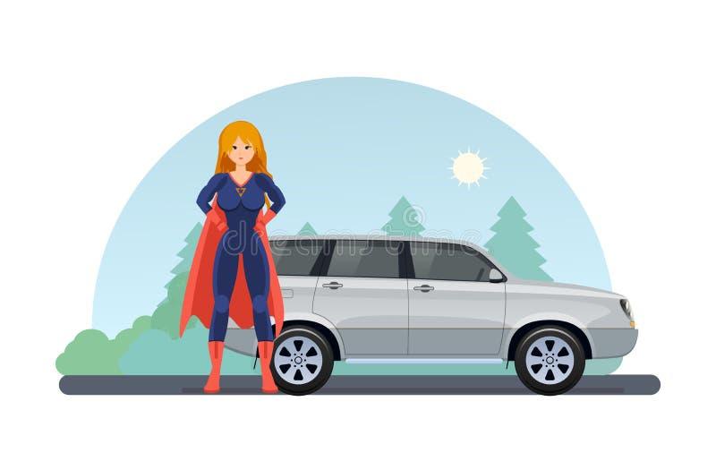 在路附近的妇女超级英雄有近汽车的 乘汽车驾驶 库存例证