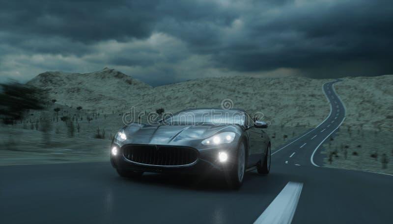在路,高速公路的黑跑车 非常快速驾驶 3d翻译 图库摄影