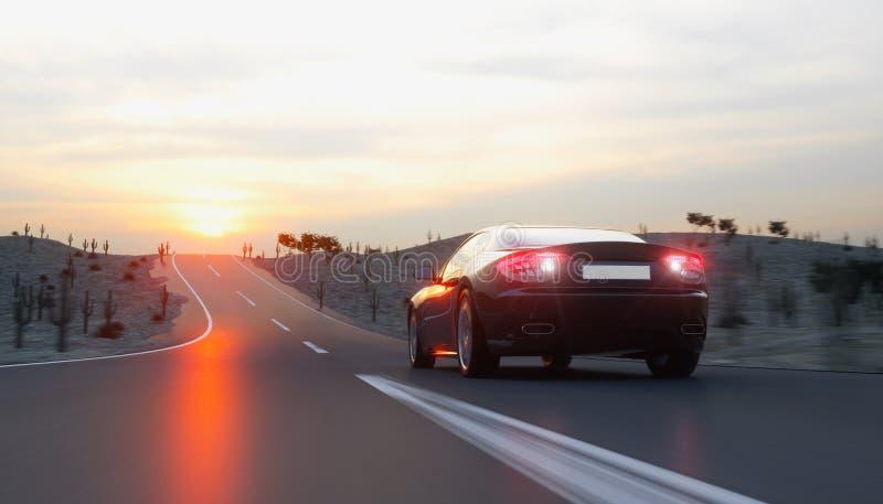 在路,高速公路的黑跑车 非常快速驾驶 3d翻译 免版税库存图片