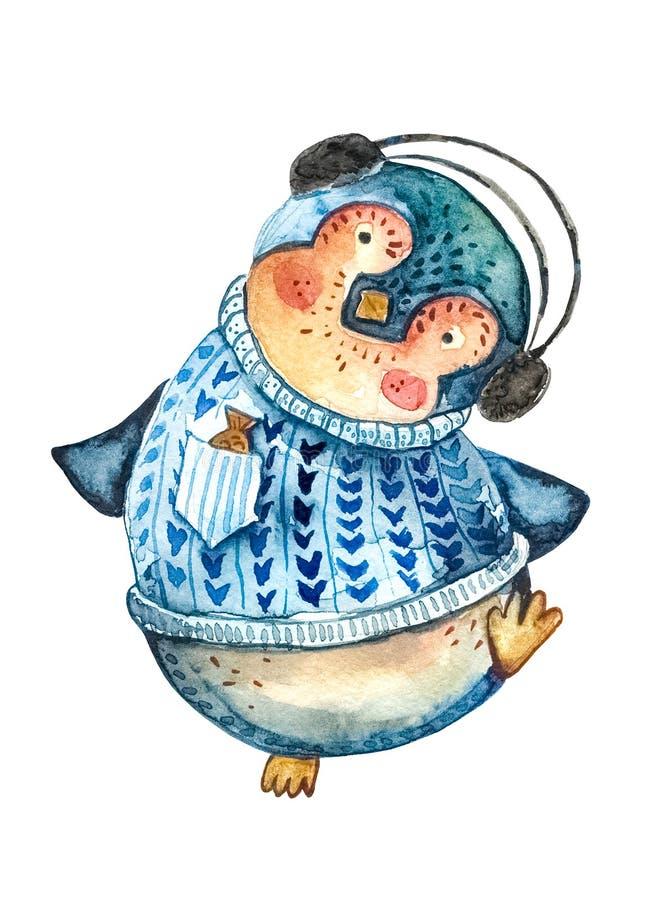 在跳舞对音乐的黑耳机的动画片企鹅 奶油被装载的饼干 皇族释放例证