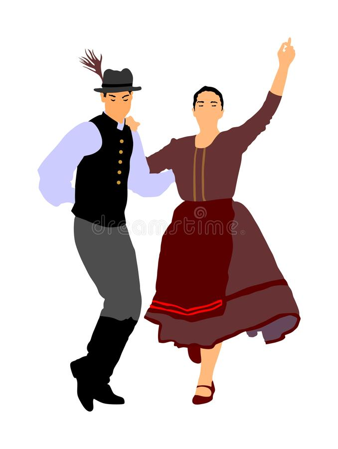 在跳舞巴尔干伙计的爱的夫妇 在婚礼的民间传说事件 皇族释放例证