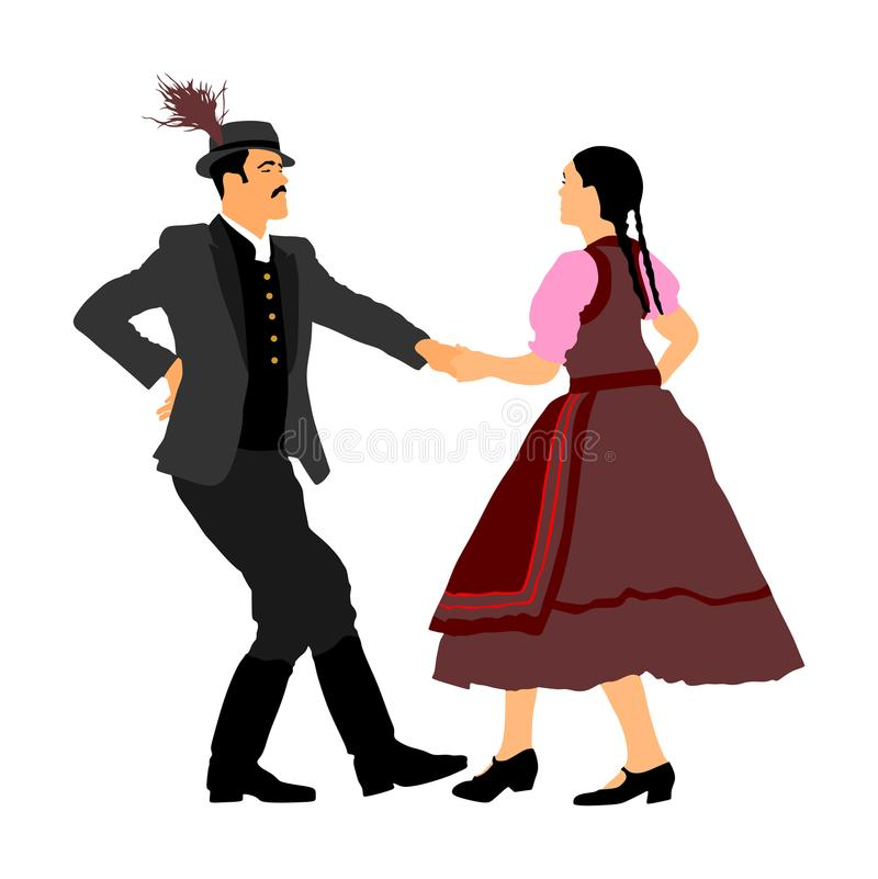 在跳舞巴尔干伙计的爱的夫妇 在婚礼的民间传说事件 库存例证