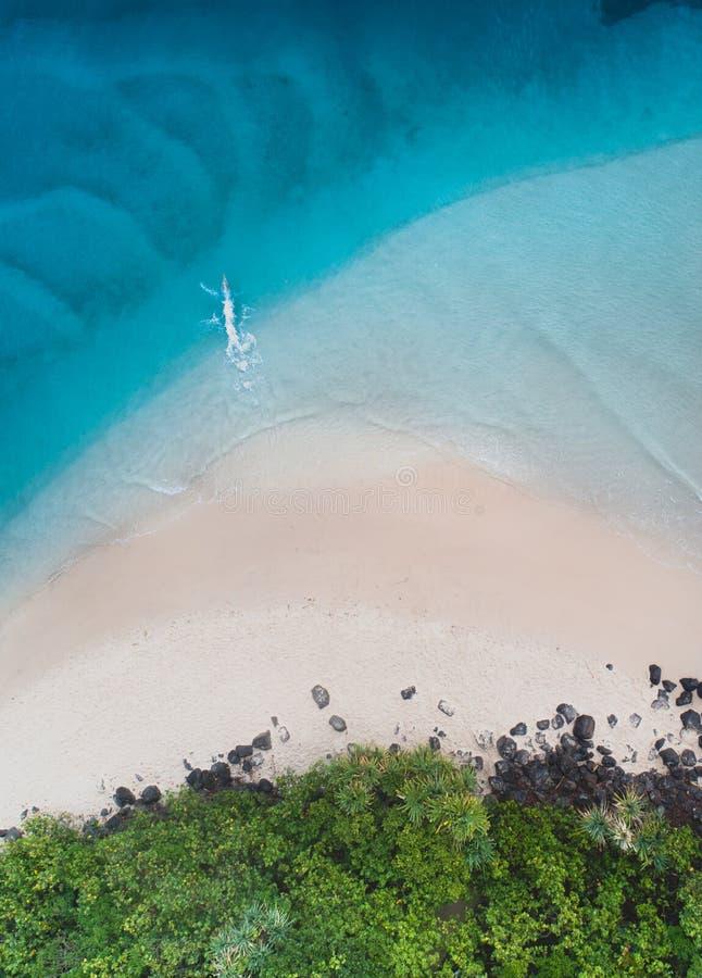 在跳跃享受步行的蓝色海洋,人,白色沙子和人的戈尔德比尤特尼斯顶视图的海滩鸟瞰图 免版税库存图片