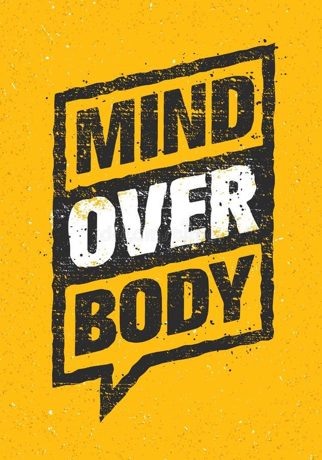 在身体的头脑 体育和健身创造性的刺激传染媒介设计 在铁锈背景的印刷术横幅 皇族释放例证