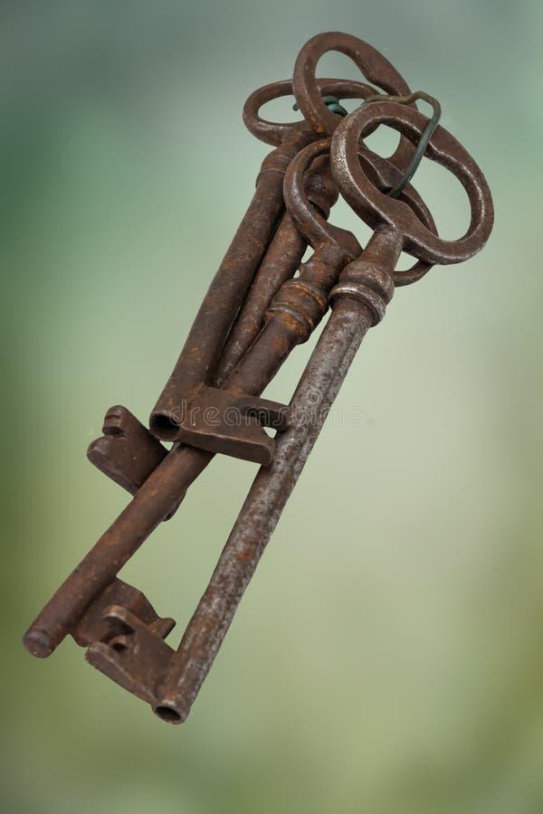在车库售物的老钥匙 库存照片