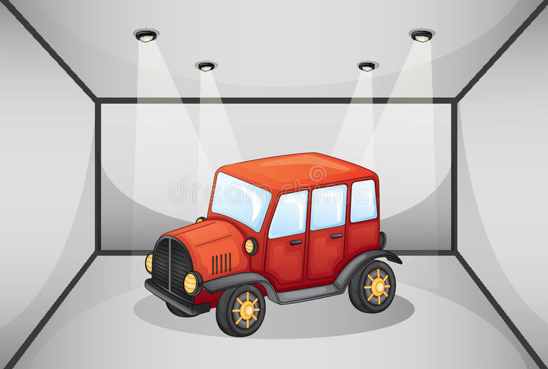 在车库里面的一辆红色吉普 皇族释放例证
