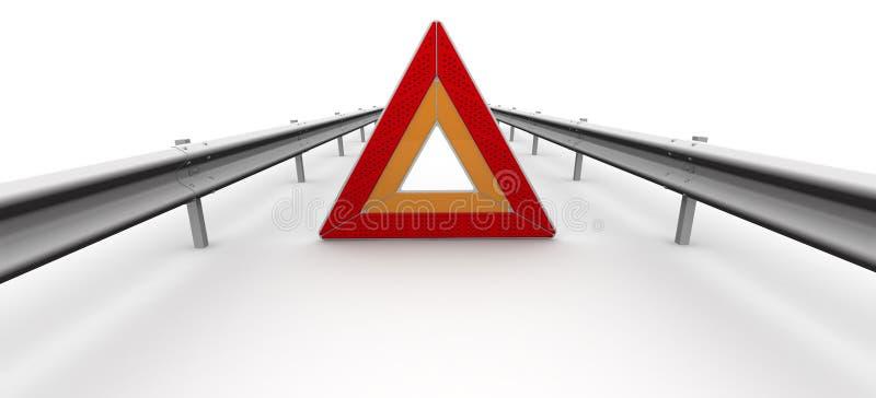 在车道的紧急刹车标志 库存例证