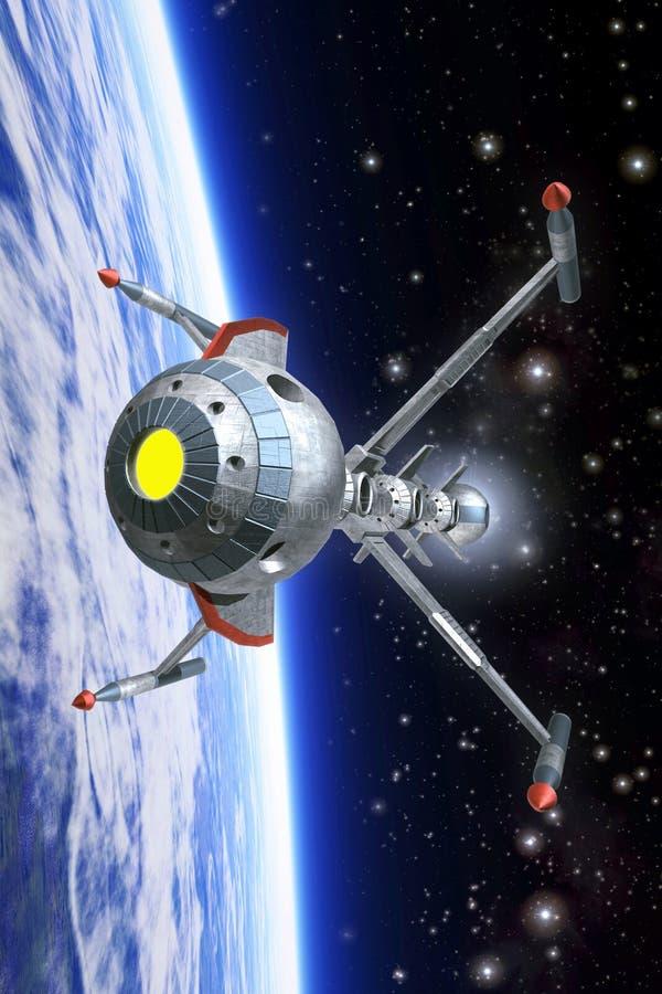 在轨道的太空飞船 皇族释放例证