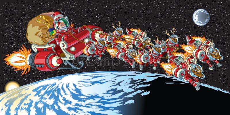 在轨道的宇航员圣诞老人和驯鹿 皇族释放例证