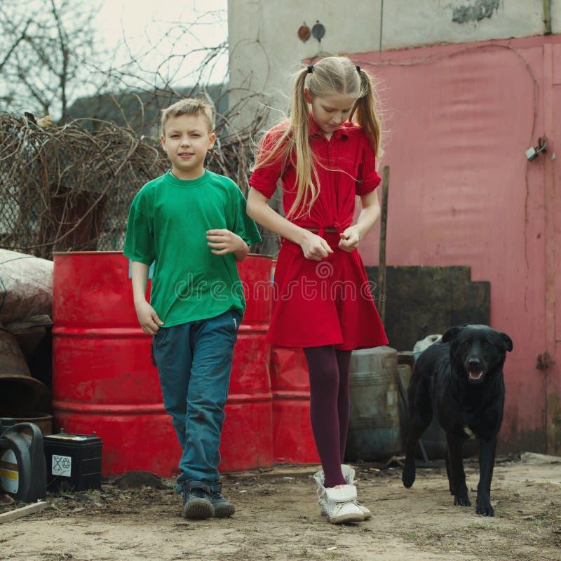 在转储的儿童游戏与狗 免版税库存图片