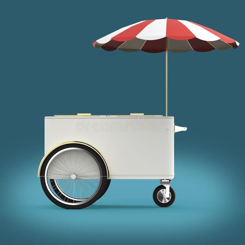 在轮子的促进柜台有伞的,食物,冰淇凌,热狗推挤推车零售业立场回报 皇族释放例证