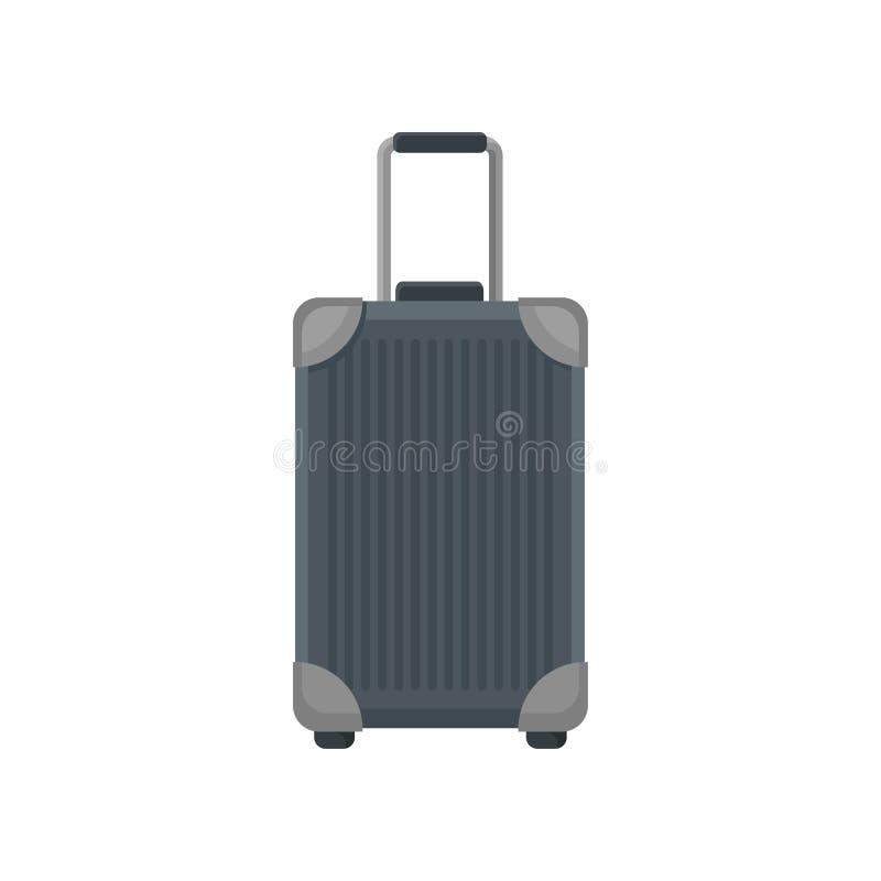 在轮子的大旅行的袋子 长方形聚碳酸酯纤维手提箱平传染媒介象有金属弯头的和望远镜 库存例证